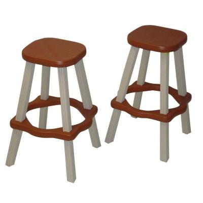 26 in. Redwood Resin Patio High Bar Stools (Set of 2)