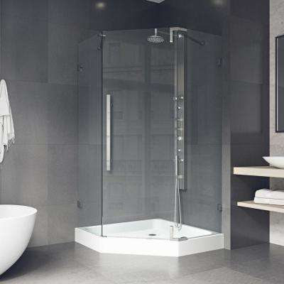 Ontario 36 in. x 74 in. Frameless Neo-Angle Hinged Corner Hinged Shower Enclosure in Stainless Steel with Base