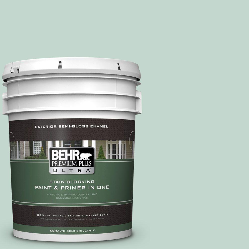 BEHR Premium Plus Ultra 5-gal. #470E-3 Aqua Smoke Semi-Gloss Enamel Exterior Paint