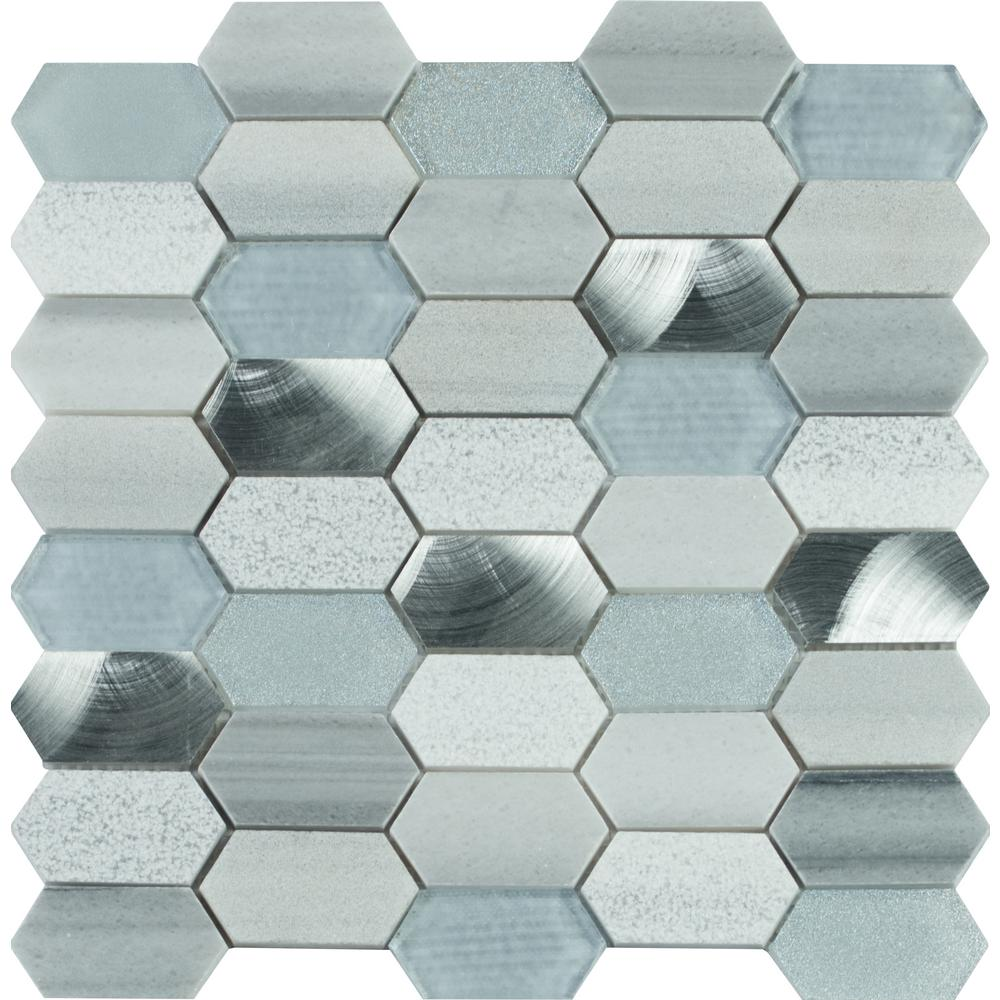 Ms International Harlow Picket 12 In X 8 Mm Gl Metal Stone Mesh Mounted Mosaic Tile Sglsmt Harpk8mm The Home Depot