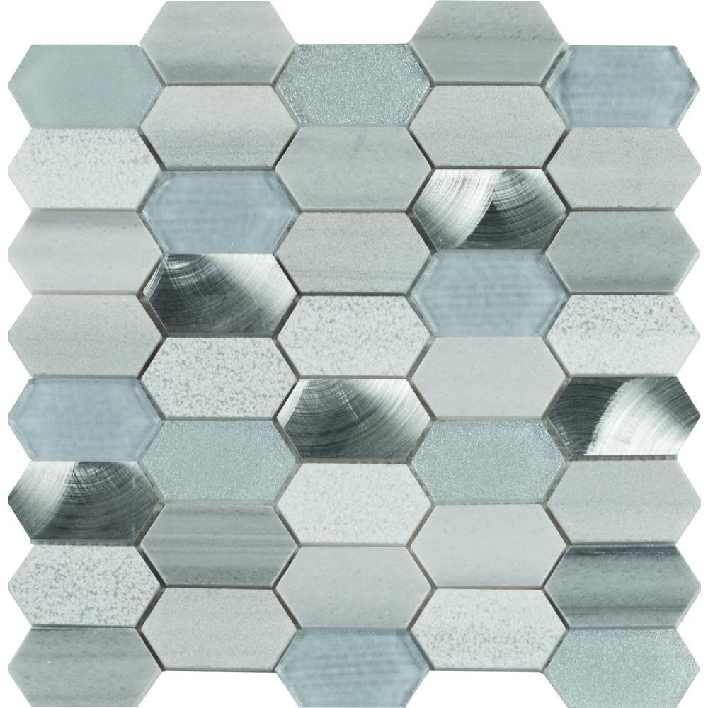 Msi Harlow Picket 12 In X 8 Mm Gl Metal Stone Mesh