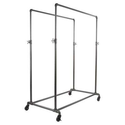 Pipeline 50 in. W x 78 in. H Adjustable Anthracite Gray Double Hangrail Garment Rack