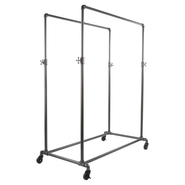 Pipeline Gray Metal Double Adjustable Clothes Rack (50 in. W x 78 in. H)