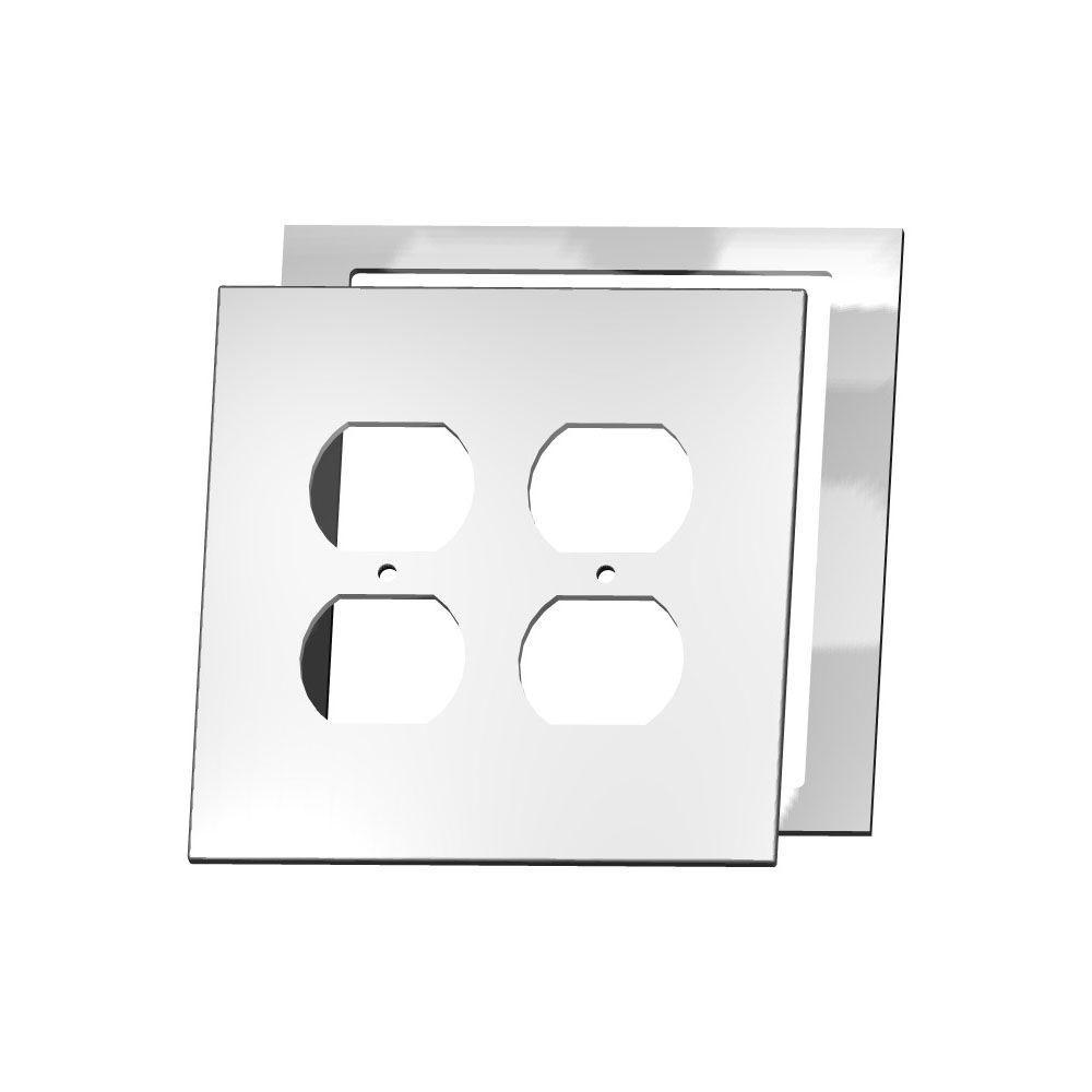 MirrEdge Crystal Cut Mirror 2 Duplex Wall Plate with Clear Acrylic Spacer