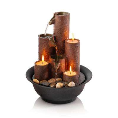 11 in. Tiered Column Tabletop Fountain with 3 Candles