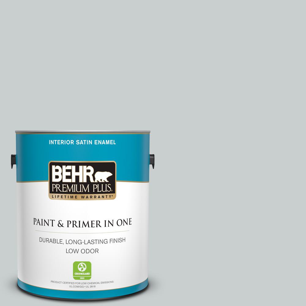 BEHR Premium Plus 1 gal. #720E-2 Light French Gray Satin Enamel Low Odor Interior Paint and Primer in One