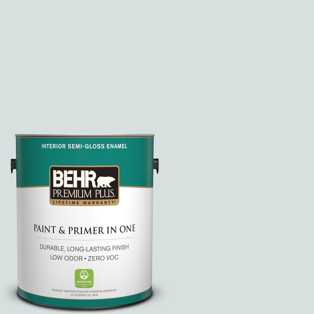 1-gal. #490E-2 Delicate Mist Zero VOC Semi-Gloss Enamel Interior Paint