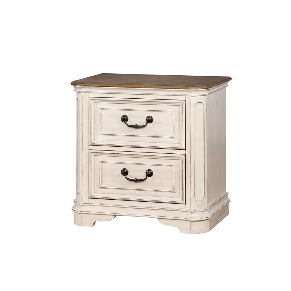 Dorris 2-Drawer Antique White Nightstand