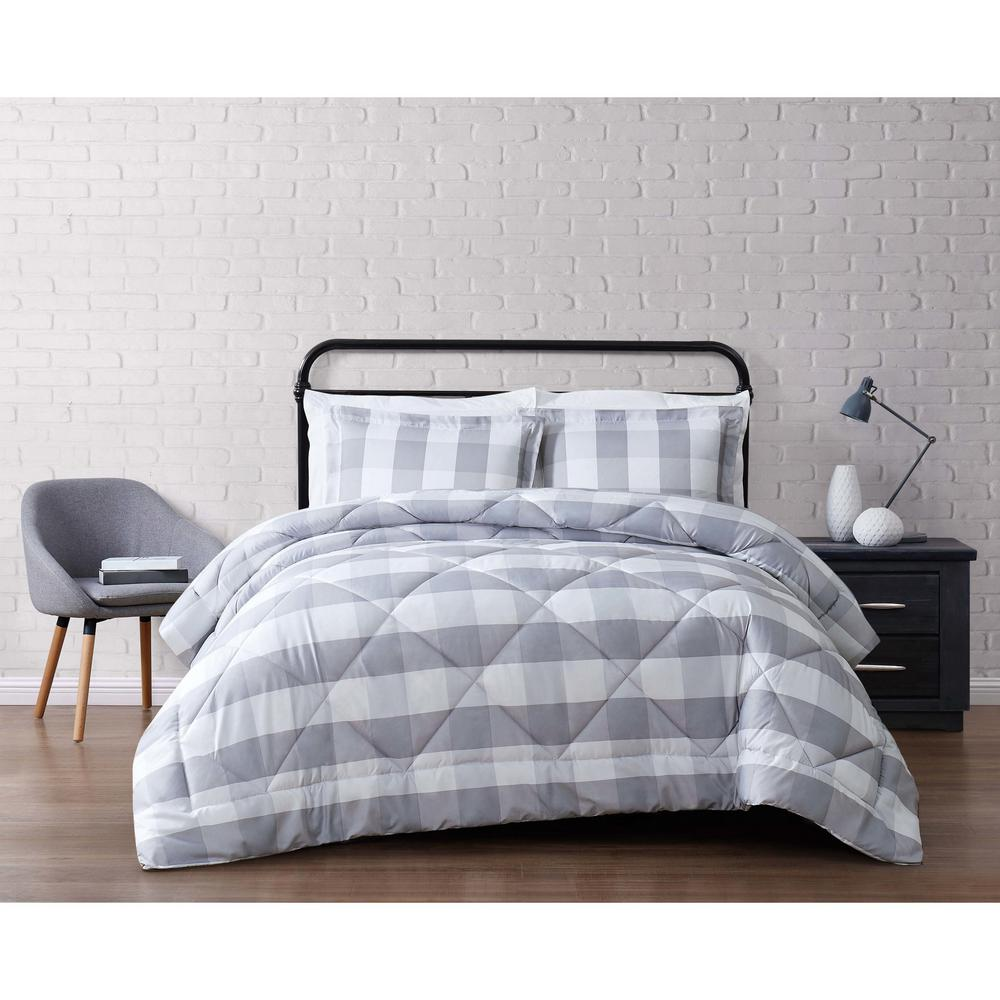 Truly Soft Buffalo 1 Piece Grey And White King Comforter Set