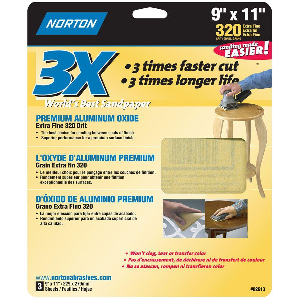 Norton 9 in. x 11 in. 320 Grit Extra-Fine Sandpaper Sheets (60-Pack)-DISCONTINUED