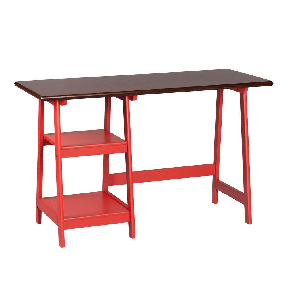 Southern Enterprises Lynne Red and Espresso Desk, Two-Ton...