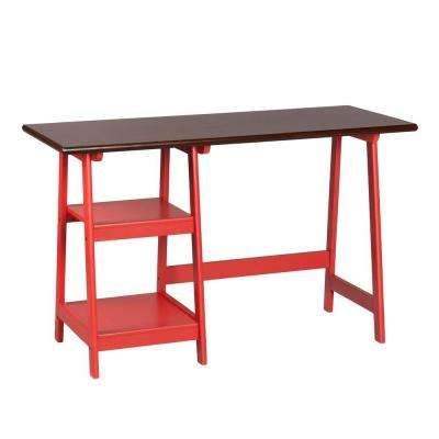 Lynne Red and Espresso Desk