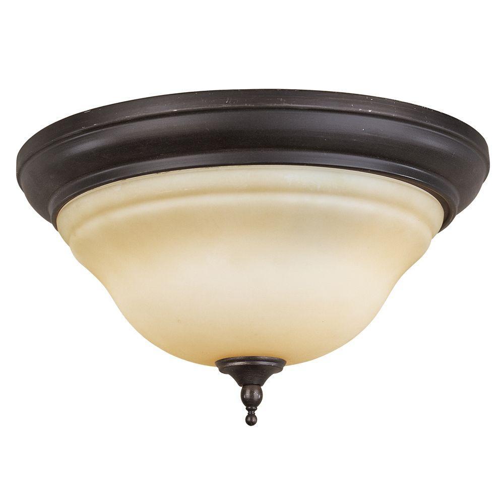 World Imports Montpellier 2-Light Oil-Rubbed Bronze Ceiling Flushmount