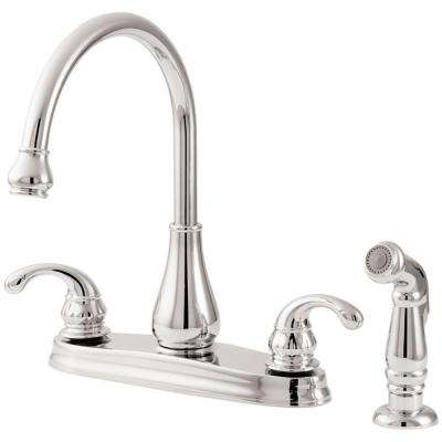 Treviso 2-Handle Standard Kitchen Faucet with Side Sprayer in Polished Chrome