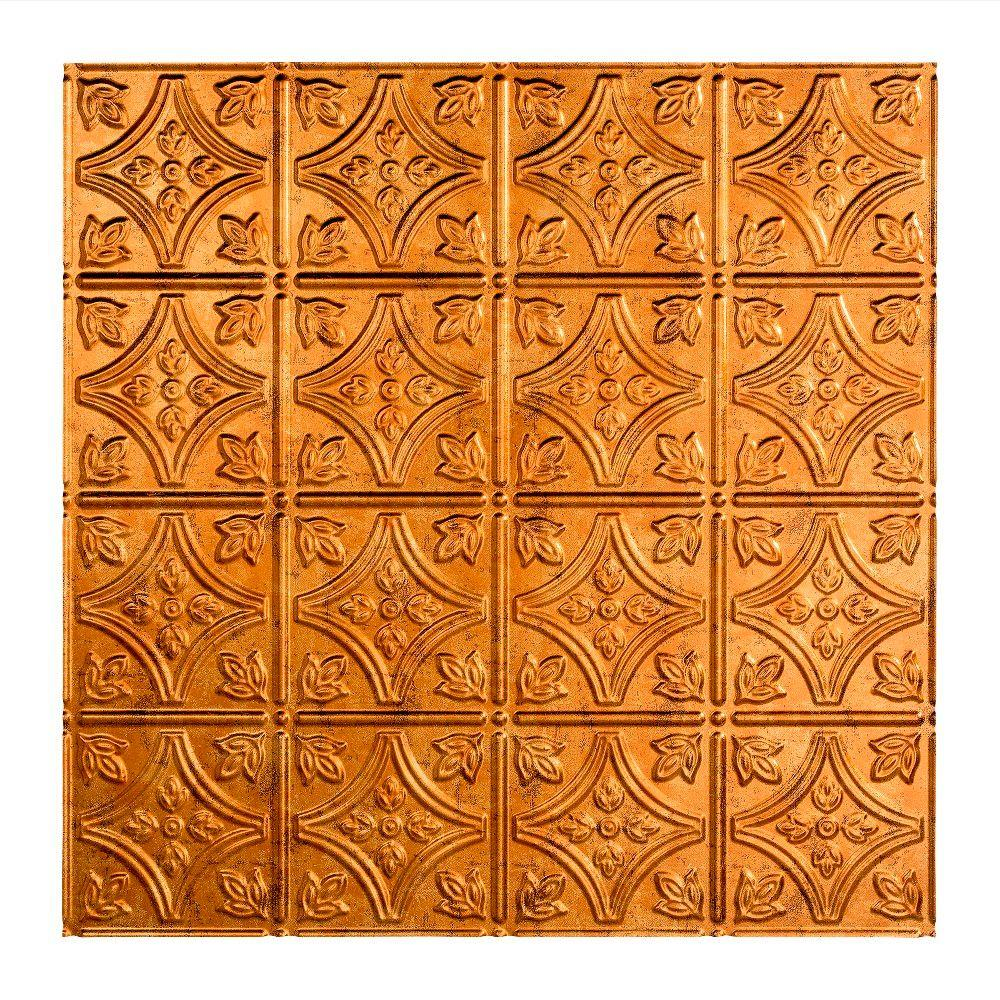 Fasade Traditional Style # 1 - 2 ft. x 2 ft. Vinyl Lay-In Ceiling Tile in Muted Gold