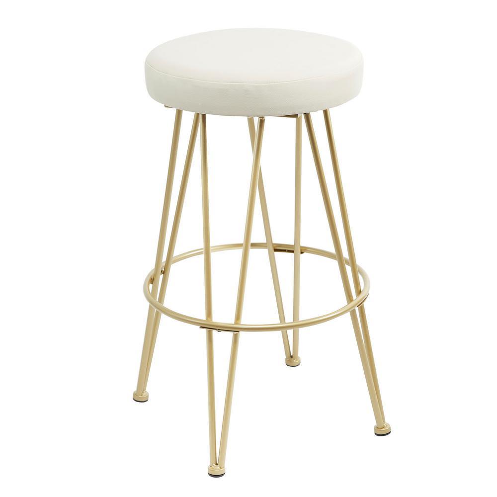 Tremendous Vinnie 29 In Gold Upholstered Metal Backless Bar Stool Creativecarmelina Interior Chair Design Creativecarmelinacom