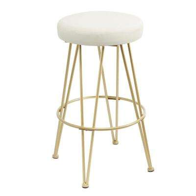 Vinnie 29 in. Gold Upholstered Metal Backless Bar Stool