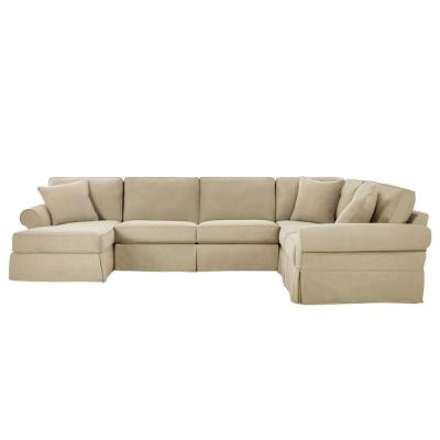 Hillbrook Essence Tan Polyester 6-Seater U-Shaped Right-Facing Sectional Sofa with Removable Cushions