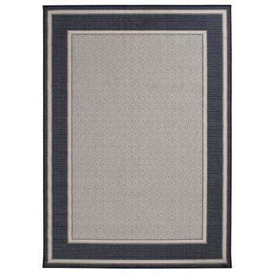 Border Ivory/Navy 8 ft. x 11 ft. Indoor/Outdoor Area Rug