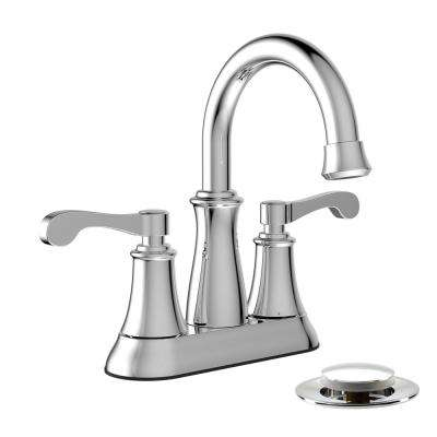 4 in. Centerset 2-Handle Bathroom Faucet with Mechanical Pop-Up Assembly in Polished Chrome
