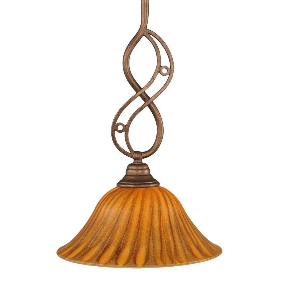 Filament Design 1-Light Bronze Pendant with Gold Ice Glass