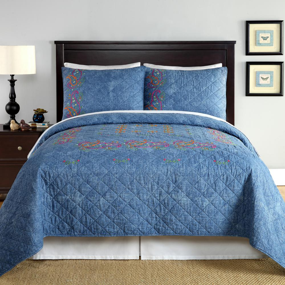 Kelly Denim Blue King Quilt 80phs77015c2104 The Home Depot