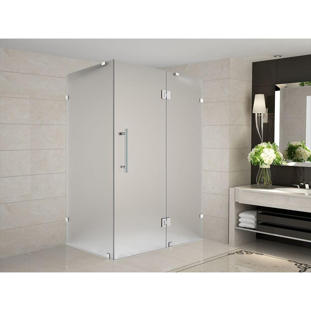 Aston Avalux 39 in. x 36 in. x 72 in. Completely Frameless Shower Enclosure with Frosted Glass in Stainless Steel