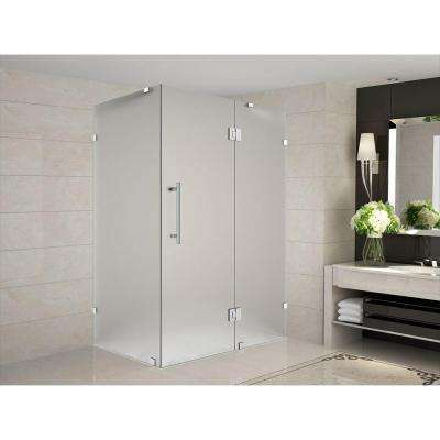 Avalux 48 in. x 34 in. x 72 in. Completely Frameless Hinged Shower Enclosure with Frosted Glass in Stainless Steel