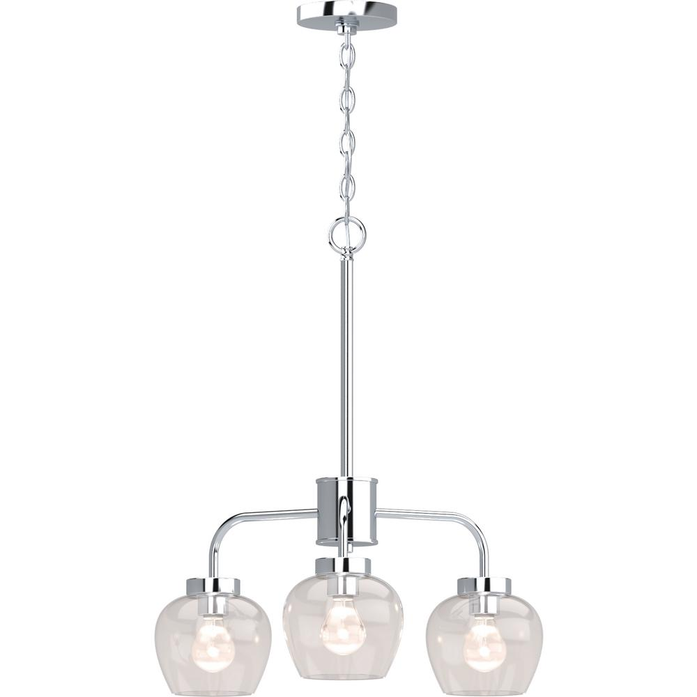 Aria 3-Light Polished Nickel Indoor Hanging Chandelier with Clear Glass Shade