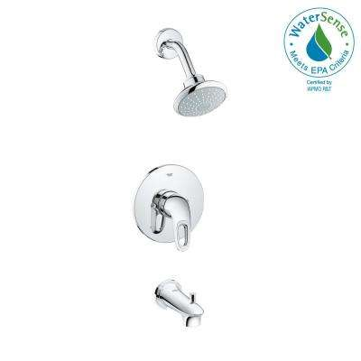 Eurostyle Single-Handle Tub and Shower Faucet Trim Kit in StarLight Chrome (Valve Sold Separately)
