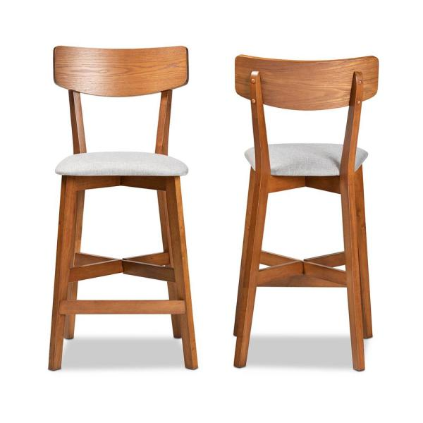 Cameron 26.8 in. Grey and Walnut Brown Counter Stool (Set of 2)