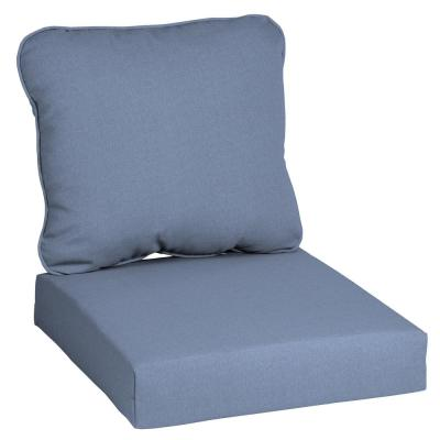24 in. x 22 in. CushionGuard Washed Denim 2-Piece Deep Seating Outdoor Lounge Chair Cushion