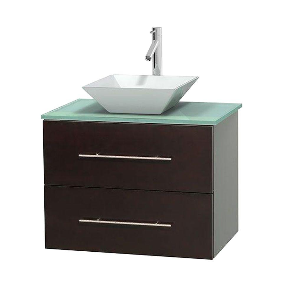 Wyndham Collection Centra 30 in. Vanity in Espresso with Glass Vanity Top in Green and Porcelain Sink