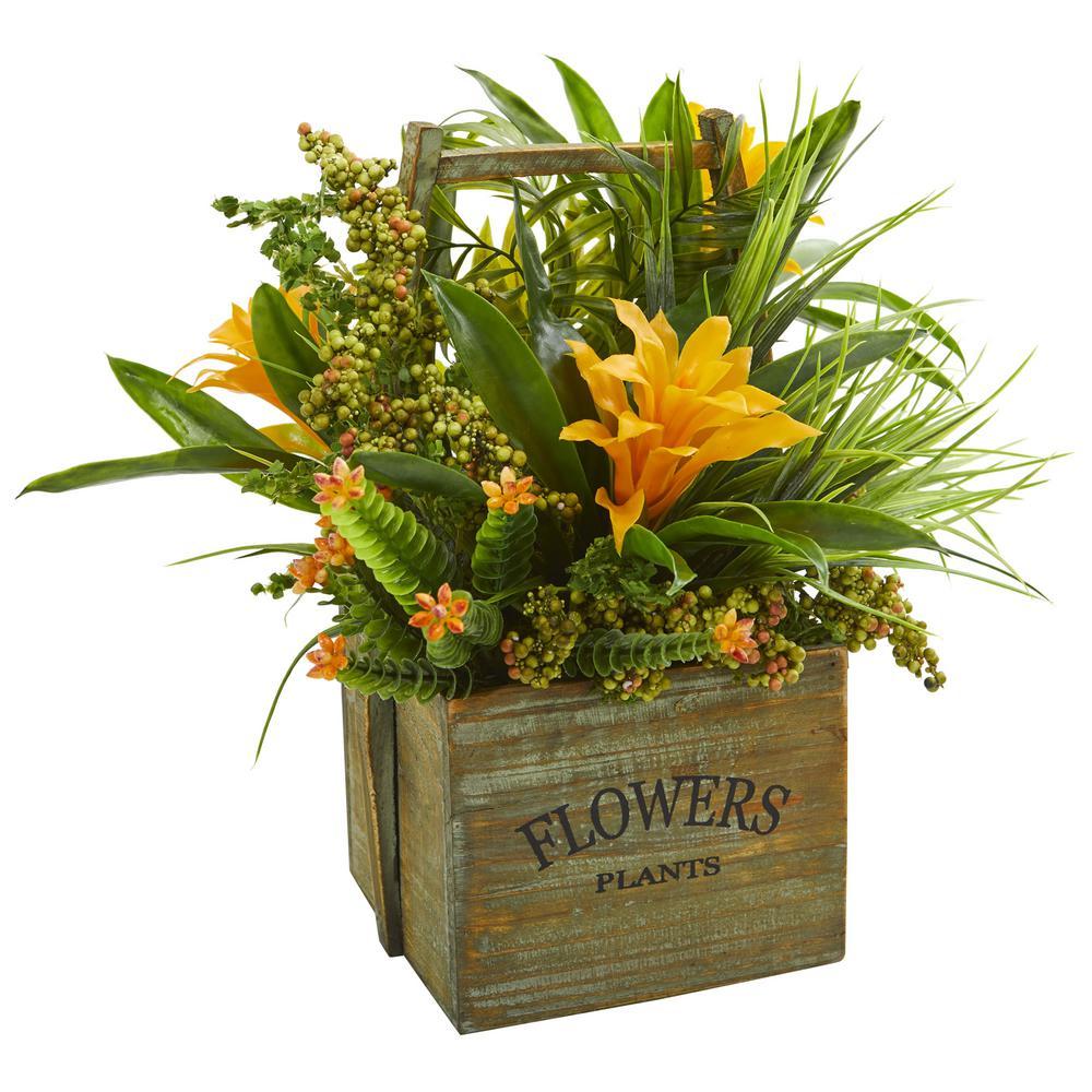Indoor Bromeliad and Mixed Greens Artificial Arrangement in Planter