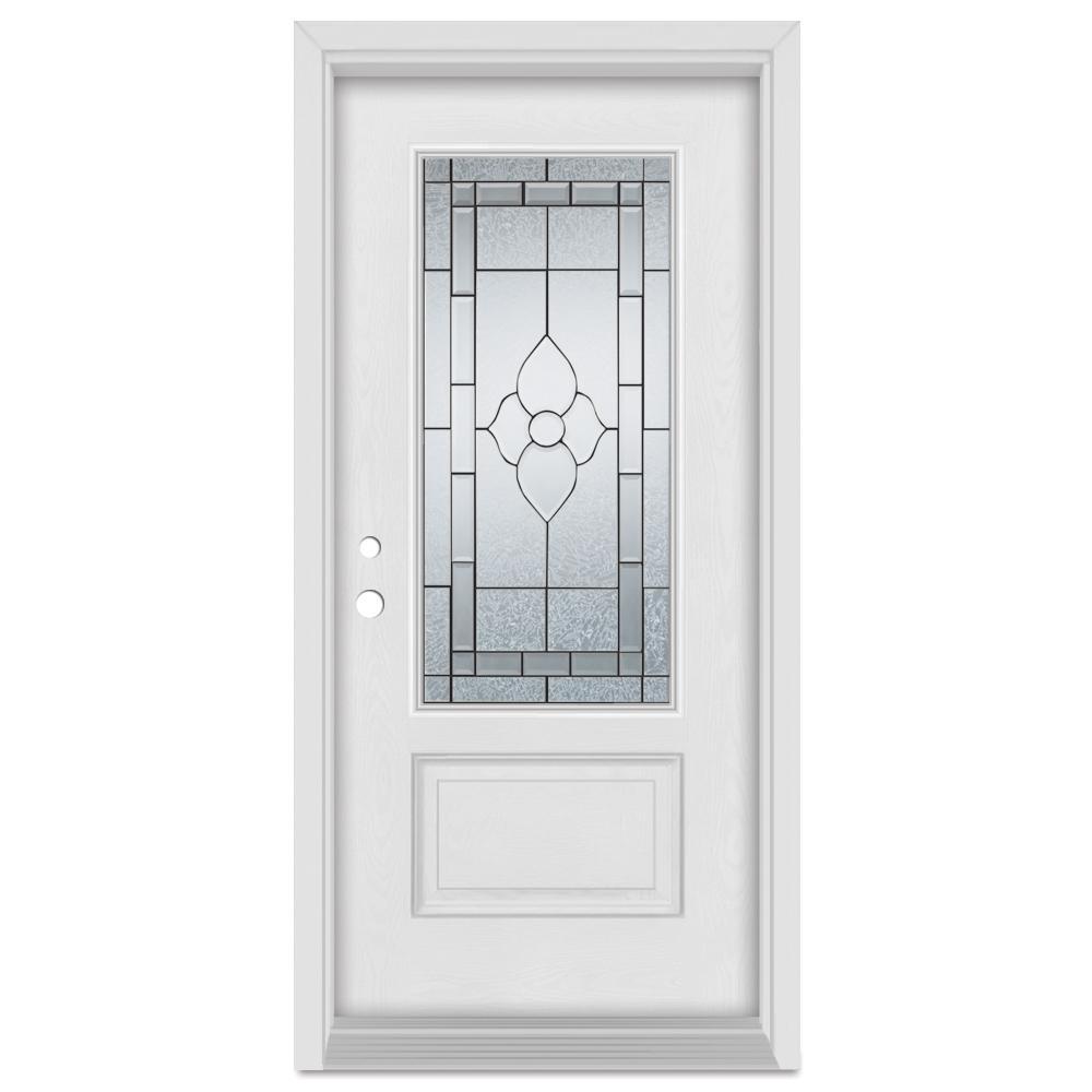 Stanley Doors 33.375 in. x 83 in. Traditional Right-Hand Patina Finished Fiberglass Mahogany Woodgrain Prehung Front Door Brickmould