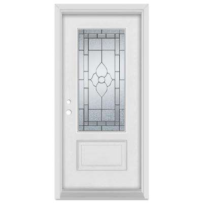 33.375 in. x 83 in. Traditional Right-Hand Patina Finished Fiberglass Mahogany Woodgrain Prehung Front Door Brickmould