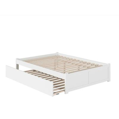 Concord Queen Bed with Footboard and Twin Extra Long Trundle in White