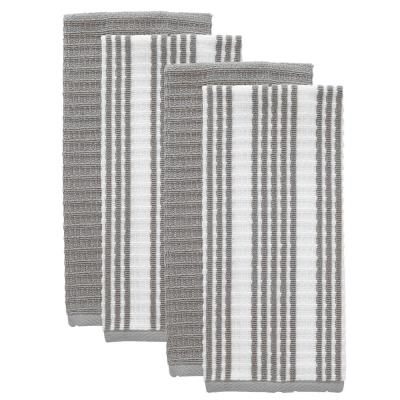 T-fal Grey Solid and Stripe Cotton Waffle Terry Kitchen Towel (Set of 4)