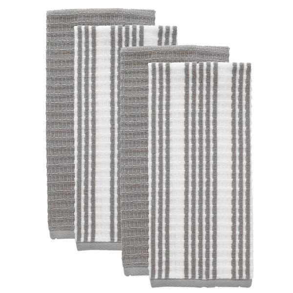 RITZ - T-fal Grey Solid and Stripe Cotton Waffle Terry Kitchen Towel (Set of 4)