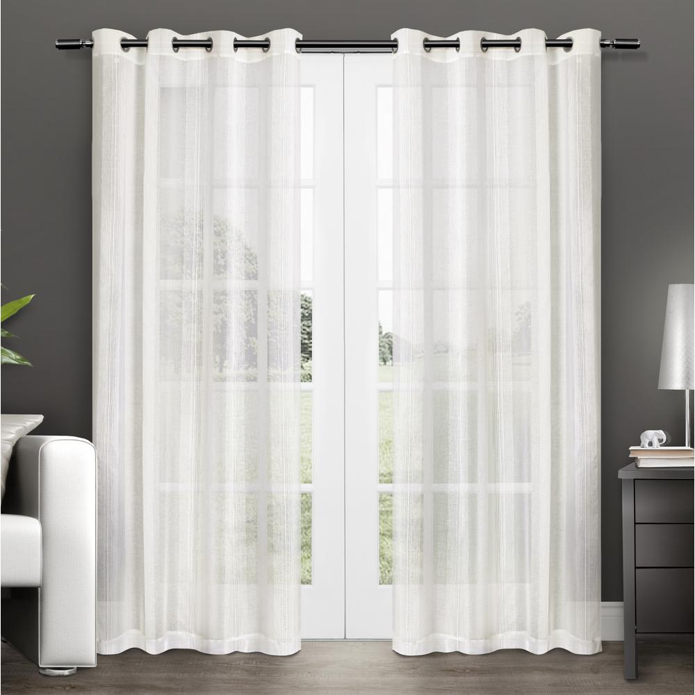 Penny Off-White Sheer Grommet Top Window Curtain-EH7937-02