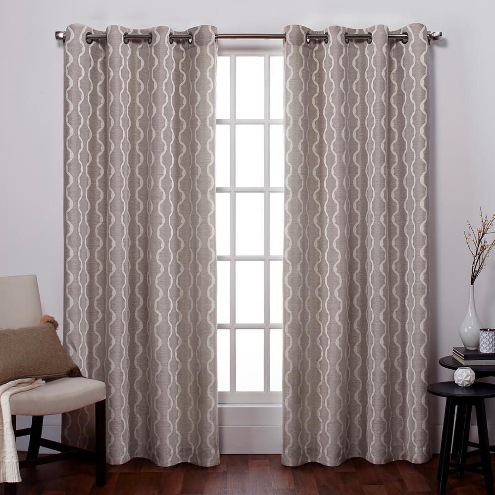 Design Decor Grommet Panels Baroque Dove Grey Oh Decor Curtain
