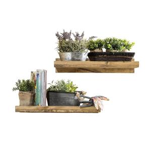 Rustic Luxe 24 in. W x 10 in. D Floating Dark Walnut Decorative Shelves (Set of 2)