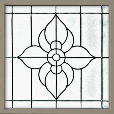 25 in. x 25 in. Decorative Glass Fixed Vinyl Glass Block Window in Driftwood