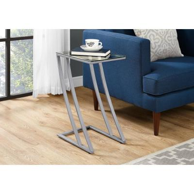 Silver End Table with Tempered Glass