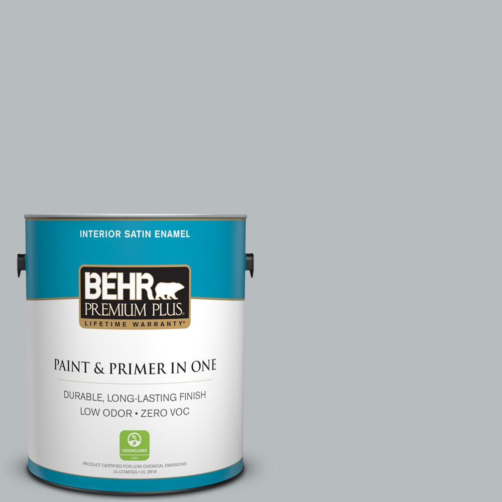 1 gal. #PPU18-05 French Silver Zero VOC Satin Enamel Interior Paint