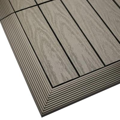 1/6 ft. x 1 ft. Quick Deck Composite Deck Tile Outside Corner Fascia in Egyptian Stone Gray (2-Pieces/Box)