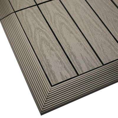 1/6 ft. x 1 ft. Quick Deck Composite Deck Tile Outside Corner Trim in Egyptian Stone Gray (2-Pieces/Box)
