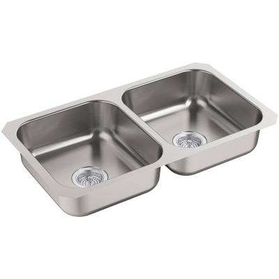 McAllister Undermount Stainless Steel 32 in. Double Basin Kitchen Sink