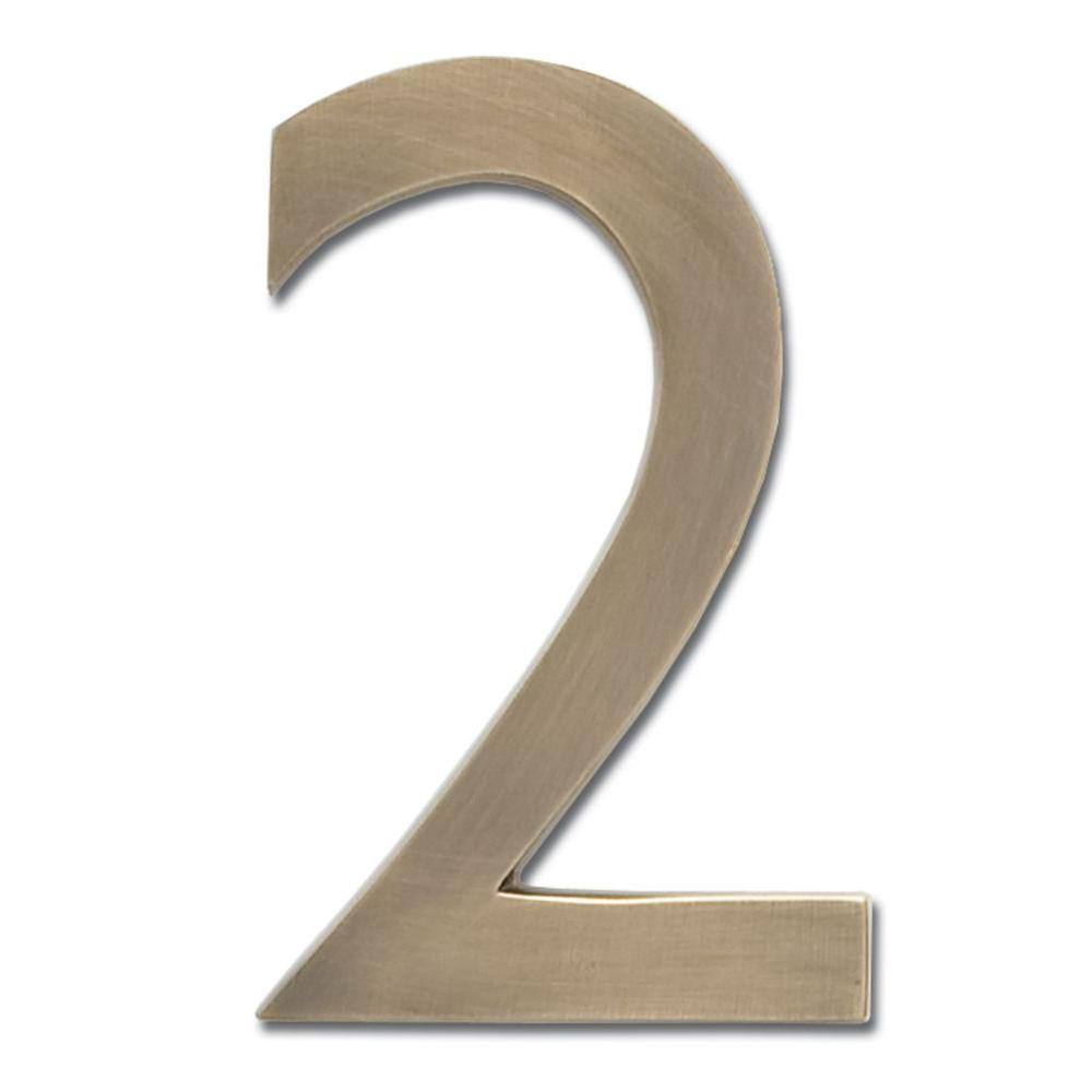 5 in. Antique Brass Floating House Number 2