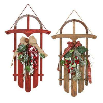 4 in. H Wood Holiday Sleighs (Set of 2)